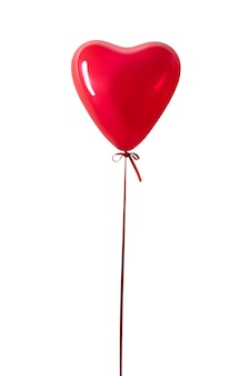 Red heart balloon isolated on a white