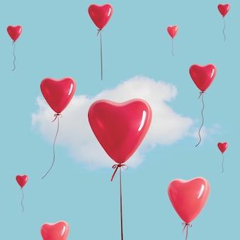 Красные сердечные шары с белым облаком на голубом небе