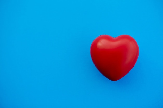 Red heart on a blue background