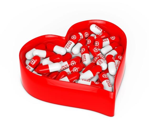 白い背景の上の医療薬と赤いハートボックス。 3dレンダリング。