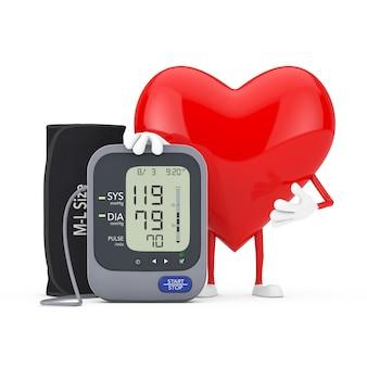 붉은 심장 캐릭터 마스코트와 흰색 바탕에 커프가 있는 디지털 혈압 모니터. 3d 렌더링