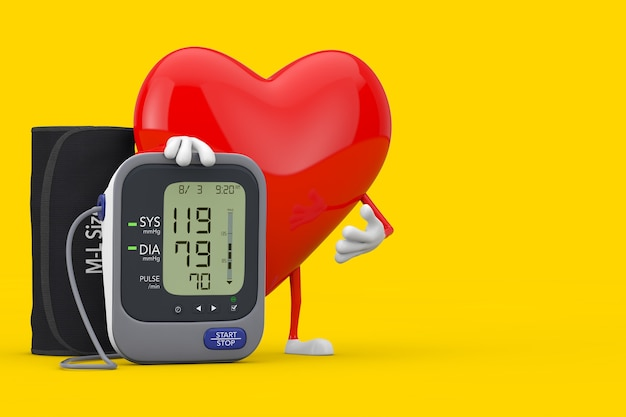Red heart character mascot and digital blood pressure monitor with cuff on a yellow background. 3d rendering