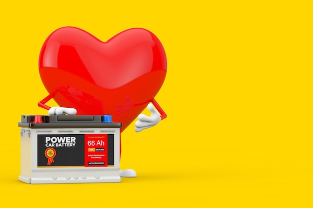 Red heart character mascot and rechargeable car battery 12v accumulator with abstract label on a yellow background. 3d rendering