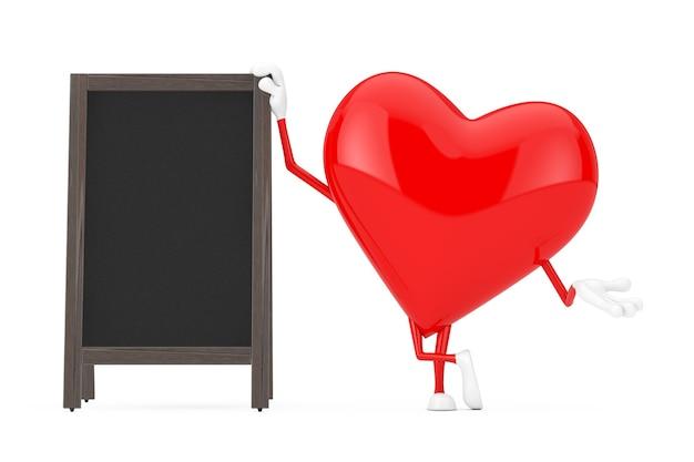 Красный талисман характера сердца с дисплеем пустых деревянных досок классного меню на открытом воздухе на белой предпосылке. 3d рендеринг