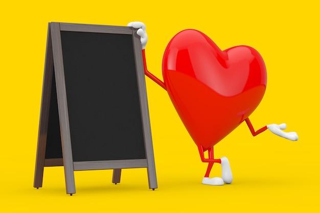 Красный талисман характера сердца с дисплеем пустых деревянных досок классн классного меню напольным на желтой предпосылке. 3d рендеринг