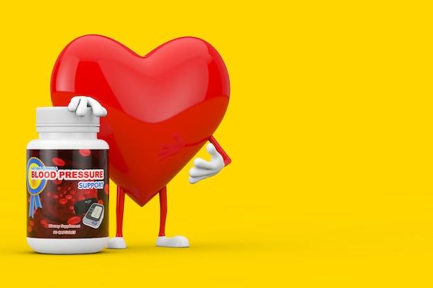 노란색 배경에 혈압 지원 약 플라스틱 병이 있는 붉은 심장 캐릭터 마스코트. 3d 렌더링