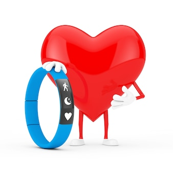Red heart character mascot with blue fitness tracker on a white background. 3d rendering