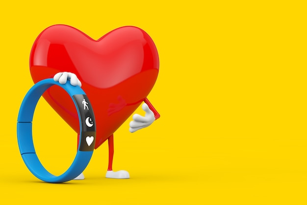 Red heart character mascot with blue fitness tracker on a yellow background. 3d rendering