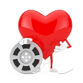 Красный талисман характера сердца с лентой кино вьюрка фильма на белой предпосылке. 3d рендеринг