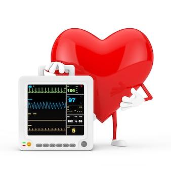 Красный талисман характера сердца с оборудованием для наблюдения за здоровьем портативным сердечным на белой предпосылке. 3d рендеринг