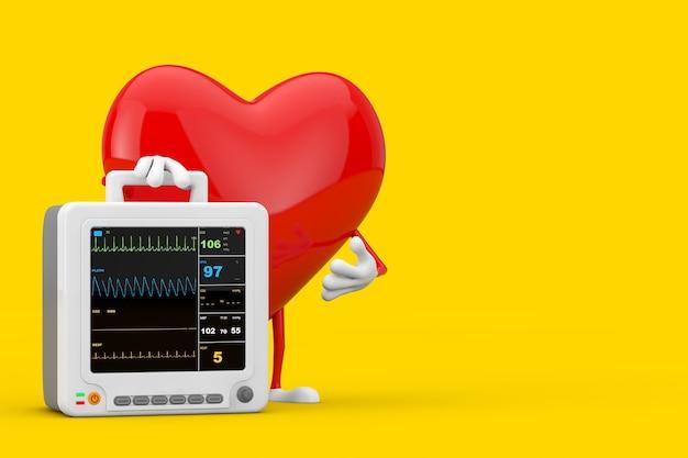Красный талисман характера сердца с оборудованием для наблюдения за здоровьем портативным сердечным на желтой предпосылке. 3d рендеринг