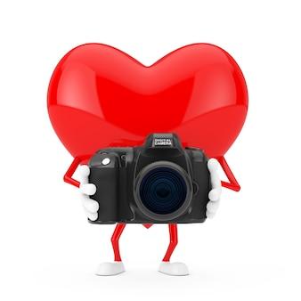 白い背景の上のモダンなデジタル写真カメラと赤いハートのキャラクターのマスコット。 3dレンダリング