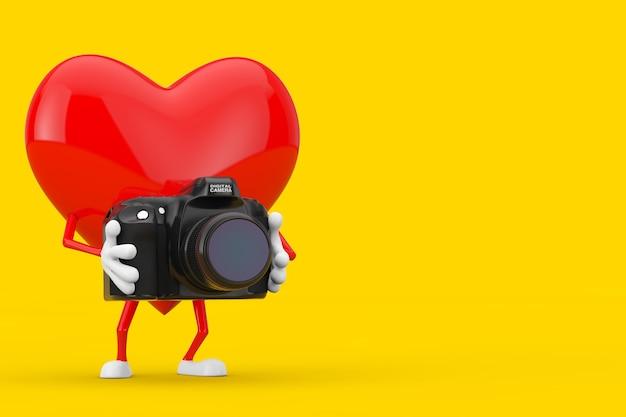 黄色の背景にモダンなデジタル写真カメラと赤いハートのキャラクターのマスコット。 3dレンダリング