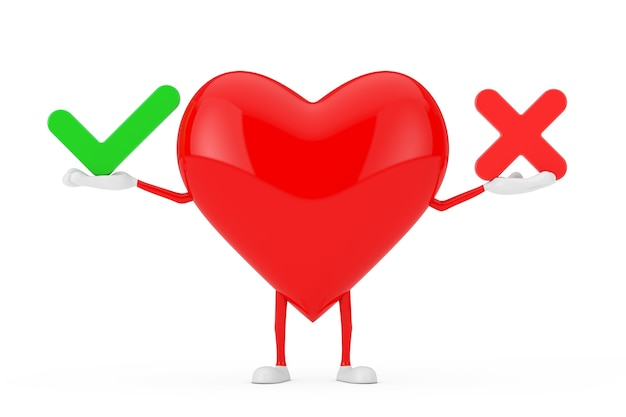 Red heart character mascot with red cross and green check mark, confirm or deny, yes or no icon sign on a white background. 3d rendering