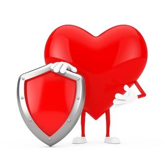 흰색 바탕에 붉은 금속 보호 방패가 있는 붉은 심장 캐릭터 마스코트. 3d 렌더링
