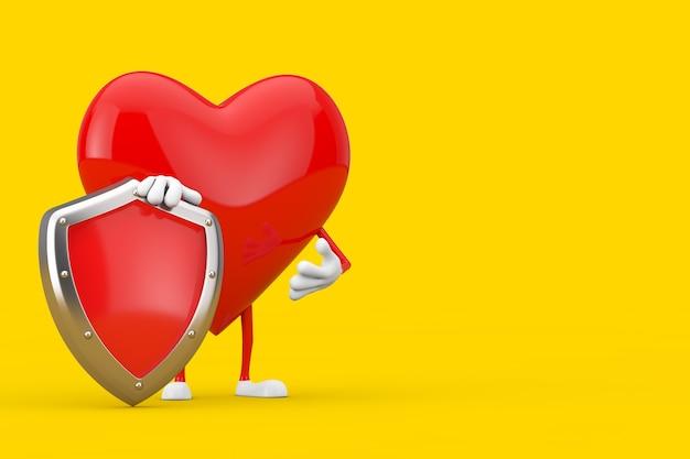 노란색 배경에 빨간색 금속 보호 방패가 있는 붉은 심장 캐릭터 마스코트. 3d 렌더링