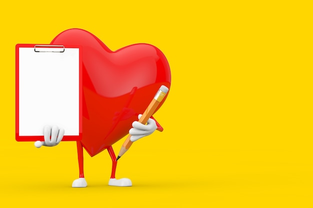 Red heart character mascot with red plastic clipboard, paper and pencil on a yellow background. 3d rendering