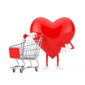 Red heart character mascot with shopping cart trolley on a white background. 3d rendering