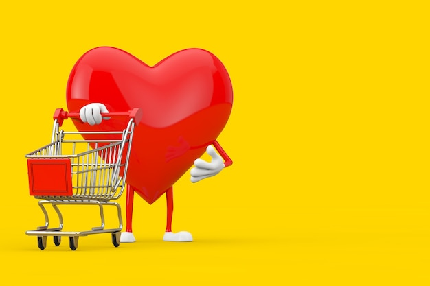 Red heart character mascot with shopping cart trolley on a yellow background. 3d rendering