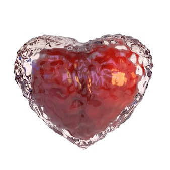 Red heart covered with ice, isolated on white background.