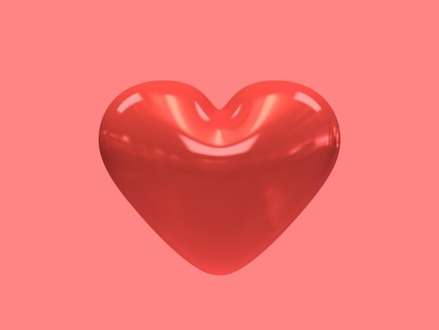 Красное сердце глянцевый 3d-рендеринг
