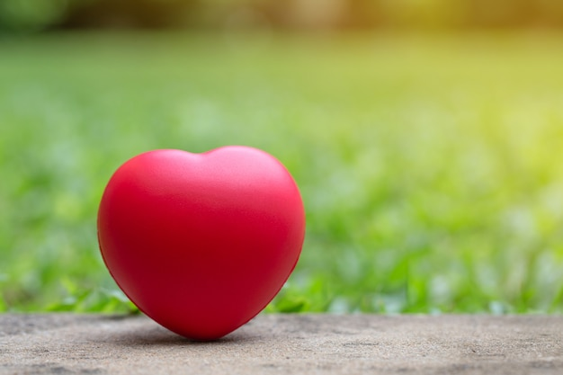 Red heart on the ground