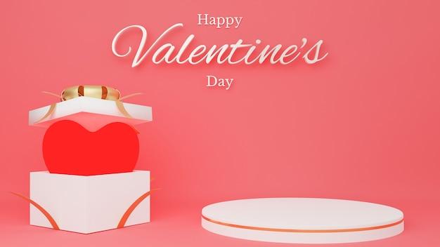 Красное сердце в открытой белой подарочной коробке с красной лентой с подиумом круга и текстом. концепция дня святого валентина.