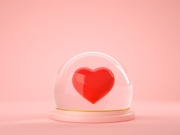 Red heart inside glass ball globe on pink background