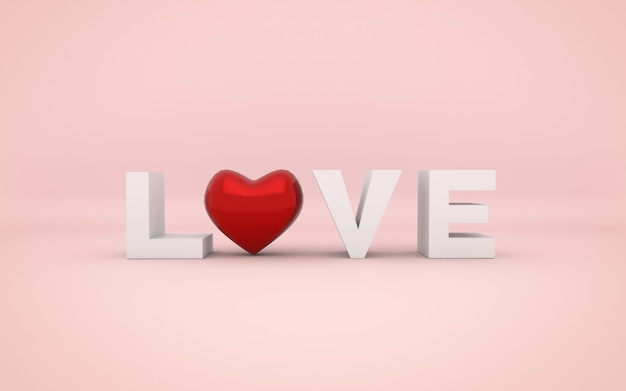 Red heart and love word. valentine's day.