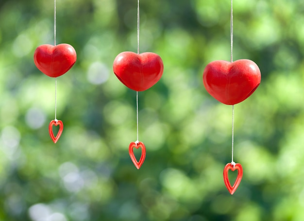 Red heart mobile hanging