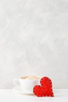 붉은 마음, 모닝 커피에 대 한 가벼운 벽, 개념, 발렌타인 데이 엽서.