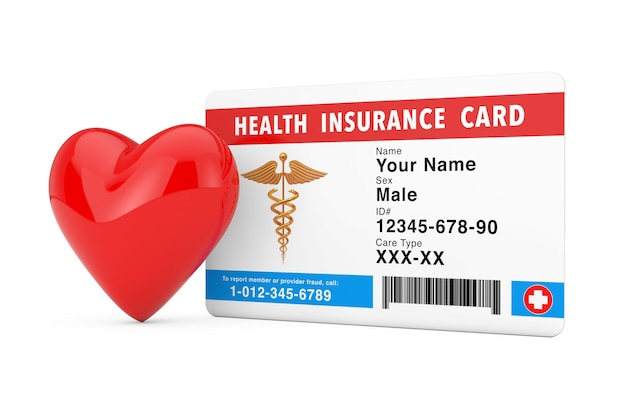 Red heart near health insurance medical card concept on a white background. 3d rendering
