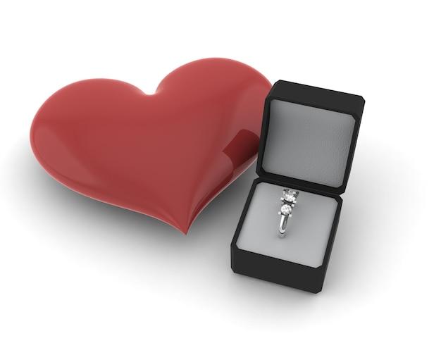 Красное сердце рядом с обручальным кольцом
