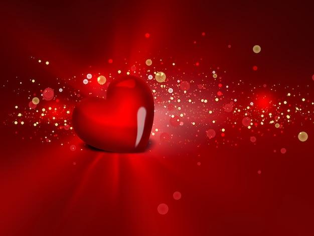 빛나는 배경에 붉은 마음