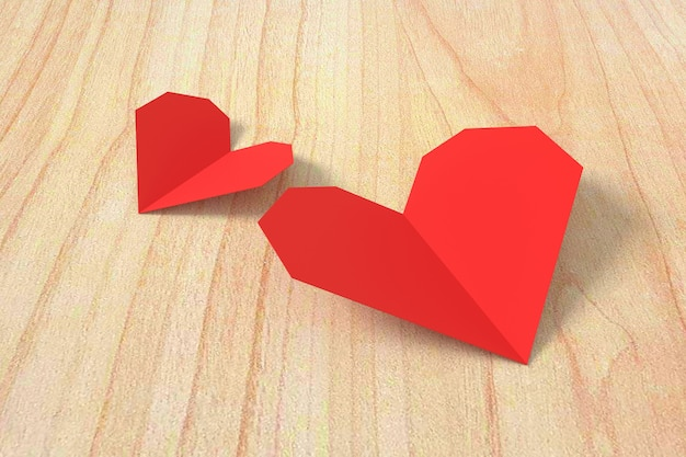 Red heart paper on wooden background. 3d rendering.