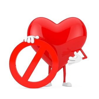 白い背景に赤い禁止または禁止記号の赤いハートの人のキャラクターのマスコット。 3dレンダリング