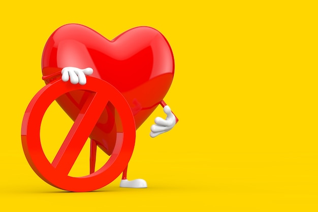 黄色の背景に赤い禁止または禁止記号が付いた赤いハートの人のキャラクターのマスコット。 3dレンダリング