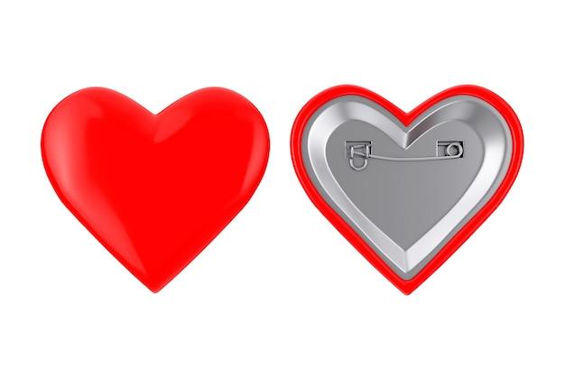 Значки булавки красные сердца на белой предпосылке. 3d рендеринг