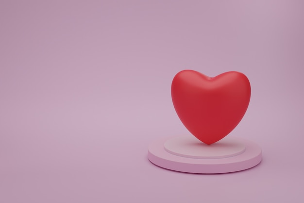 Red heart on presentation podium with pink color background. ide for mother's, valentine's day, birthday, 3d rendering.