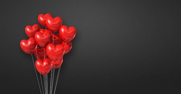 Red heart shape balloons bunch on a black wall background. horizontal banner. 3d illustration render