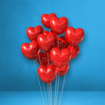 Red heart shape balloons bunch on a blue wall background. 3d illustration render