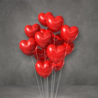 회색 벽에 붉은 심장 모양 풍선 무리. 3d 그림 렌더링