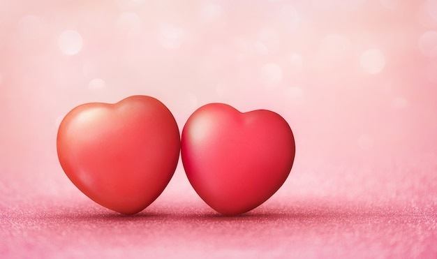 Red heart shape on bokeh light glitter background for love and happy valentines day.