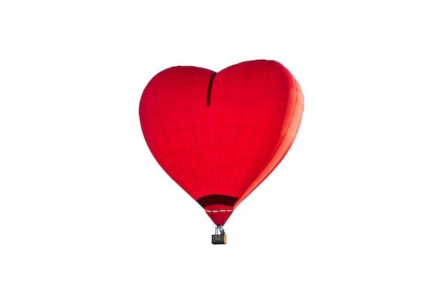 赤いハート型の気球。孤立