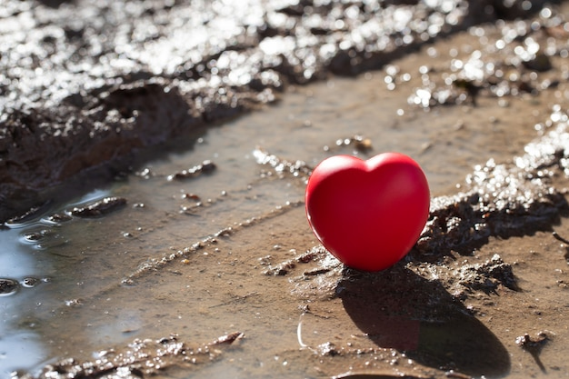 Red heart-shaped ball on ground