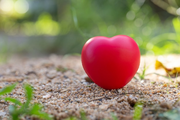 Red heart-shaped ball on the ground