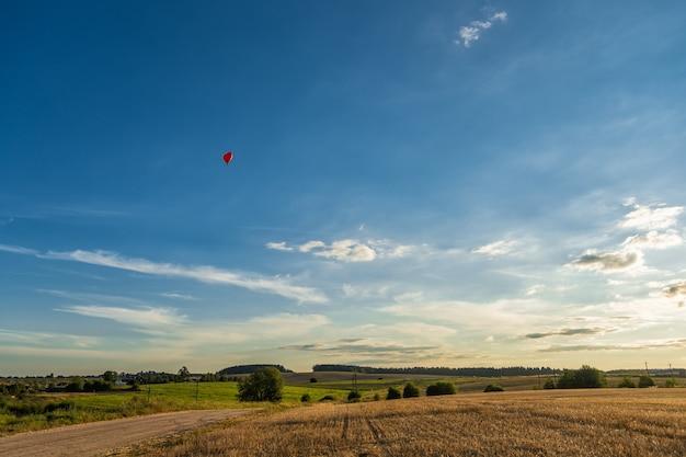 風景の背景に赤いハート型の風船