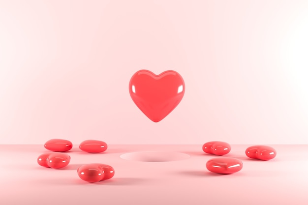 Red heart shapes floating from hole on pink background. 3d render. minimal valentine concept idea.