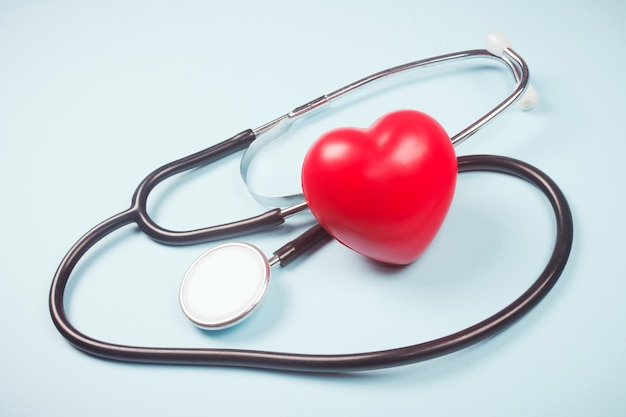 Red heart and stethoscope symbol of cardiology