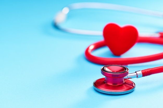 Red heart and stethoscope